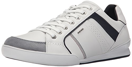 Geox Hommes Kristof Mode Sneaker Blanc / Shell Cuir / Daim