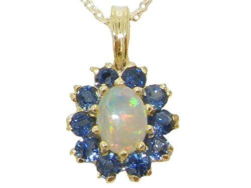 Womens Solid Yellow 10K Gold Natural Opal & Blue Sapphire Pendant Necklace with 20