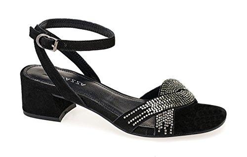 APEPAZZA GEMMA Sandalo camoscio Tacco 4cm con cinturino e strass