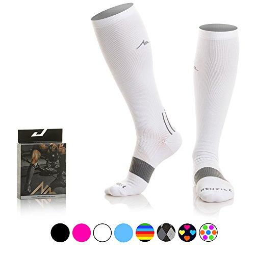 Stop Trail Boots (NEWZILL Compression Socks (20-30mmHg) for Men & Women - BEST Stockings for Running, Medical, Athletic, Edema, Diabetic, Varicose Veins, Travel, Pregnancy, Shin Splints. White - Medium (1 pair))