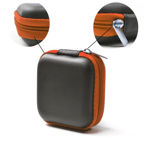 Case Star ® Black Color Square Shaped Carrying Hard Case Storage Bag for MP3/MP4 Bluetooth Earphone Earbuds with Mesh Pocket, Zipper Enclosure, and Durable Exterior+ Case Star Velvet Bag (Square Earphone Case - Black/Orange)