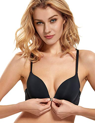 DOBREVA Women's Push Up Front Closure Bra T-Shirt Underwired Adds 1 Cup Size Bras Black_Smooth 32B
