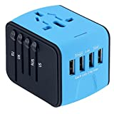 Naouis Universal Travel Adapter with 2.4A 4 USB Wall Charger and 1 Universal AC socket, International Travel Power Adapter for Europe, UK, US, AU, Covers 160+ Countries