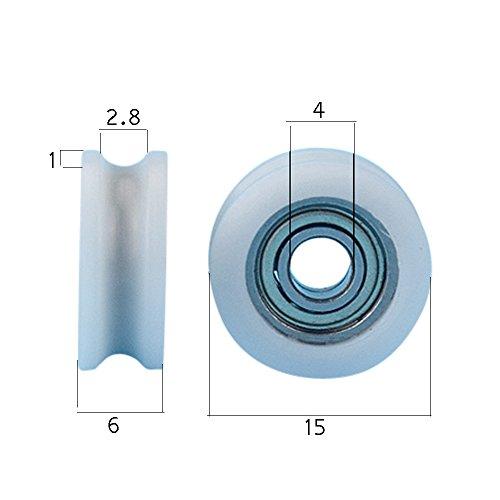 Miniature 4x15x6 Sliding Door Window Wheel Nylon Bearing Roller U Groove Mini Size Roller,pack of 4