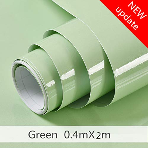Green Contact Paper Self Adhesive Film Waterproof Removable Decorative Home Peel and Stick Wallpaper for Cabinets Countertops Kitchen Shining point Easy to Clean Simple Style Smooth surface (15.8