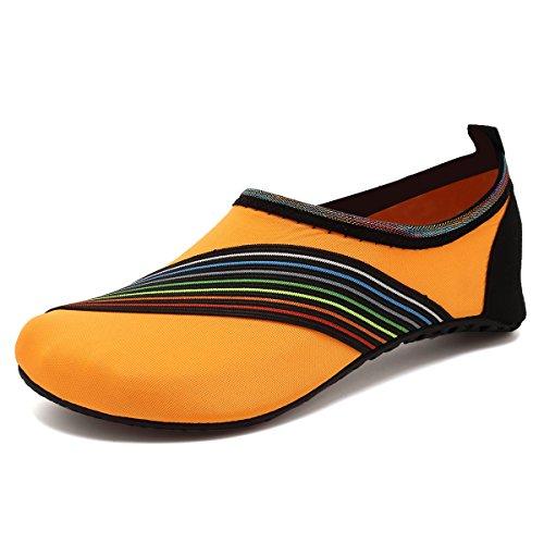 VIFUUR Wassersport Schuhe Barfuß Quick-Dry Aqua Yoga Socken Slip-On für Männer Frauen Kinder Xidaiorange