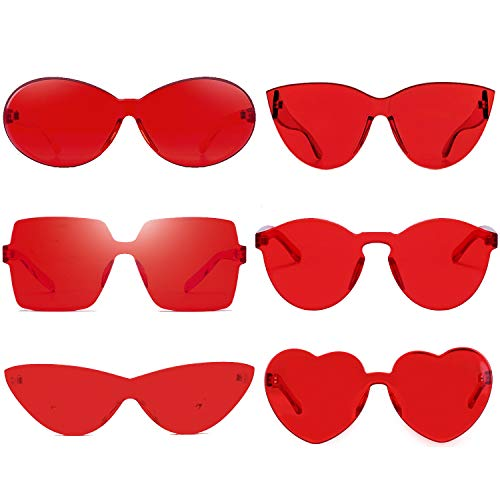 6 Red Pack Colorful Rimless Theme Sunglasses Neon 80's Style Party ()