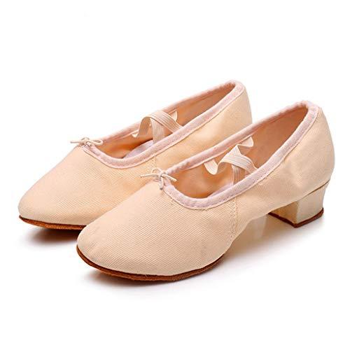Damas Rumba Bailando Latino Prom Ballroom Zapatos Solteros De Waltz Mujer Ballet Beige t4Ewq4r