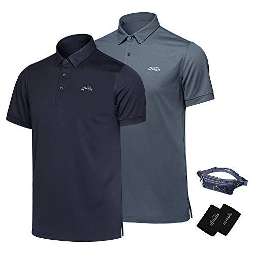 LIFINAIS Men's Polo Shirts Performance Golf Polo Tech Dri-Fit Short Sleeve 2 1 Pack(X-Large 2 Pack:BlueSteel Grey) [並行輸入品]   B07K1RPCH1