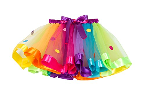 MOLFROA Baby Girls Colorful Layered Dance Outdoor Rainbow Tutu Skirt (Small/1-3 Years, Wafer Rainbow) -