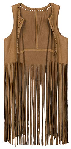 Vocni Women's Tassels Faux Suede Fringe Vest 70s Hippie Costume Open-Front Sleeveless Cardigan Vest Brown Small -