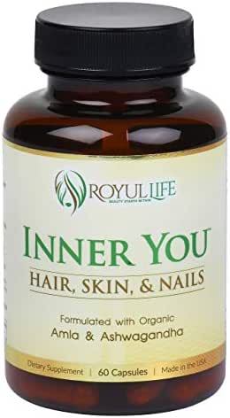 Natural Hair Growth Vitamins with Lab Certified Ashwagandha and Amla for Longer, Stronger, Thicker Hair - Hair Loss Prevention Treatment with Biotin, Ashwagandha, Collagen, Keratin, Amla by Inner You