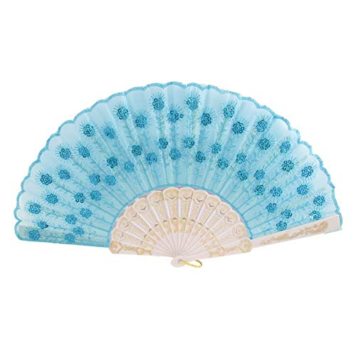 Figurines & Miniatures - Szs Plastic Rib Sequins Adorn Foldable Dancing Hand Fan Sky Blue White - Kids Dresses Shirt Outfits Face Piece Tights Knee Polish Party Classic Male Nail Plus Dress 1 ()
