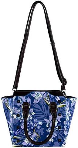 Borsa a tracolla da donna in pelle a tracolla con fiori esotici floreali, orchidee, uccelli del paradiso, foglie di palma