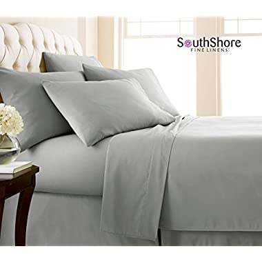 Southshore Fine Linens® 6 Piece - Extra Deep Pocket Sheet Set - STEEL GRAY - King