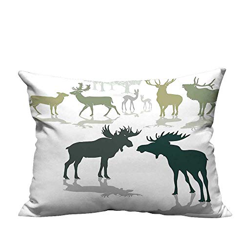 alsohome Throw Pillow Cover for Sofa Elk Deer Fawn Silhouette The Background World Natural Heritage Textile Crafts 11x19.5 inch(Double-Sided Printing) ()