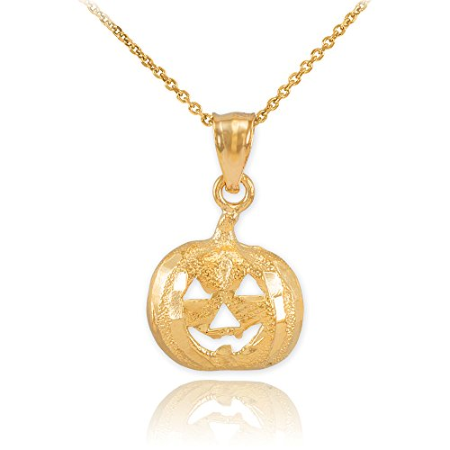 14k Yellow Gold Jack O'Lantern Pumpkin Pendant Necklace Charm, 22