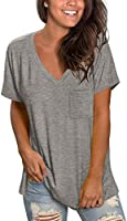 NSQTBA Womens Short Sleeve V Neck T Shirts Loose Casual Summer Tops Tees with Pocket