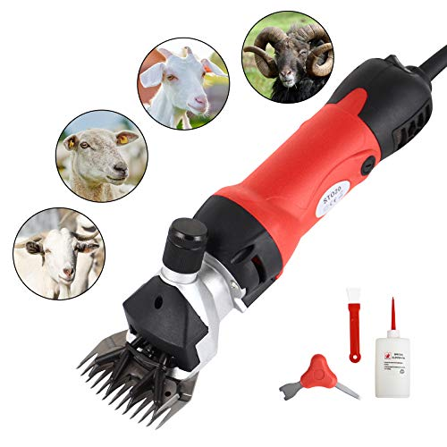 SUNCOO Sheep Shears Portable Animals Electric Clippers for Goats, Alpaca, Llamas, Horse and Other Fur Livestock Support Heavy Duty Shearing Work 350 Watts (Red) (Best Clippers For Shearing Angora Goats)