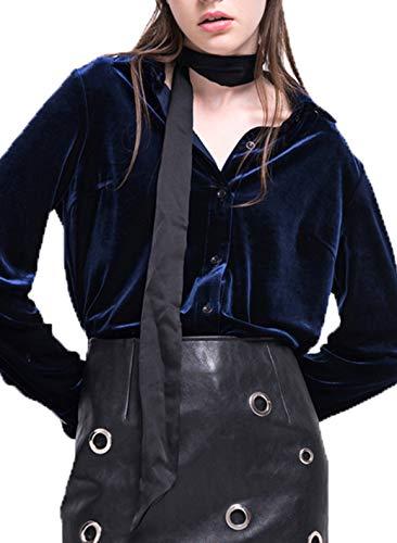 ASMAX HaoDuoYi Womens Turn-Down Collar Long Sleeve Velvet Boyfriend Shirt Dark Blue