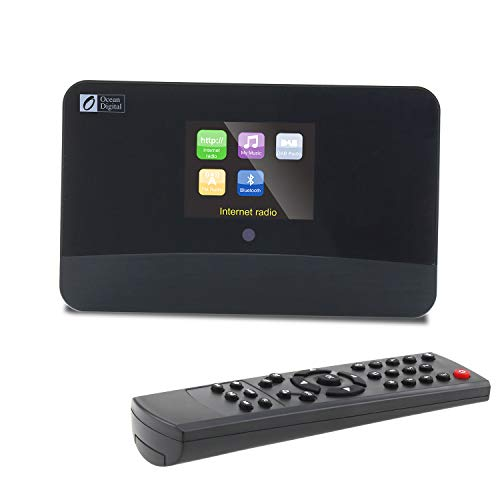 "Ocean Digital WiFi Internet Radio FM Tuner Adaptor Model DBA-03R Bluetooth Receiver 2.8"" Color Display Audio and Digital Output Remote Control-Black"