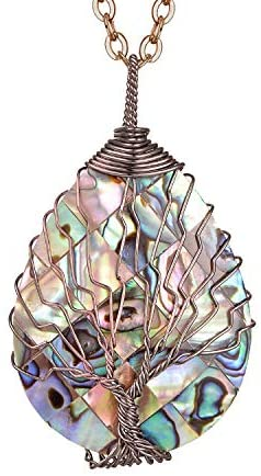 sedmart Tear Drop Abalone Shell Pendent Necklace Wire Wrap Abalone Shell Tree of Life Pendant Necklace Fashion Necklace Jewelry for Women Handmade Necklace Mothers Day Necklace for mom Jewelry