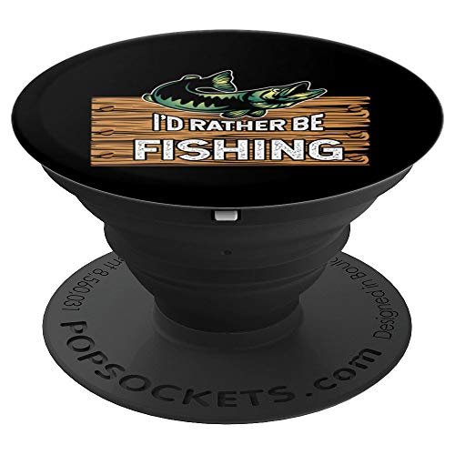 Rather Be Fish-ing Wood Awesome Black Sports Christmas Gift - PopSockets Grip and Stand for Phones and Tablets ()