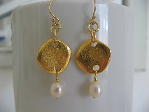 Artisan Golden Mixed Metal Cultured Freshwater Pearl Dangling Earrings on Gold Filled Earring Wires