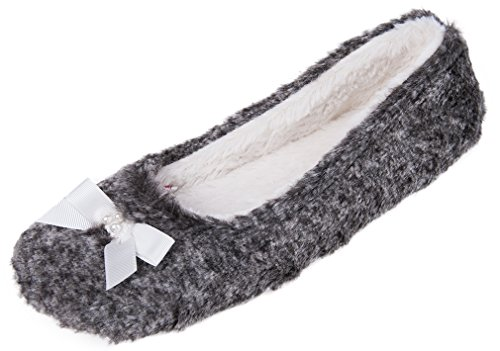 Ballerina Slipper Charm (MIXIN Women's Casual Indoor Pearl Bowknot Fluffy Ballerina Slippers Grey US Size 10)