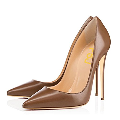 High Heel Stiletto Pointed (FSJ Women Classic Pointed Toe High Heels Evening Dress Pumps Slip On Stilettos Formal Office Shoes Size 8 Brown)