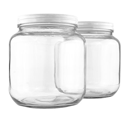 Clear Half Gallon Wide-mouth Glass Jars (2-Pack), 64-Ounce / 2-Quart Capacity with White Metal Lids, BPA-Free (Small Glass Cookie Jars With Lids)