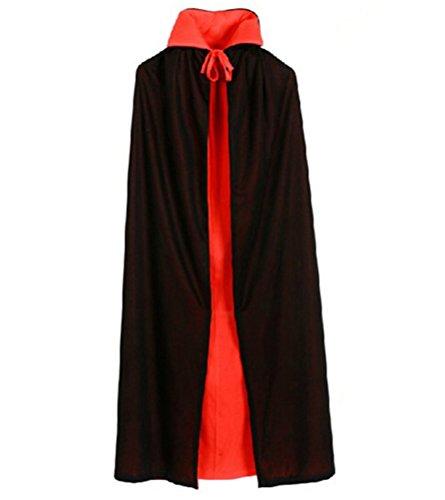 Pirates Customes (Halloween Vampire Cloak - Custome Black Red Reversible Dress Goth Devil Pirate Vampire Demon Cloak (35