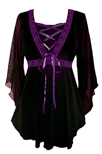 Dare To Wear Victorian Gothic Boho Women's Plus Size Bewitched Corset Top Black/Purple -