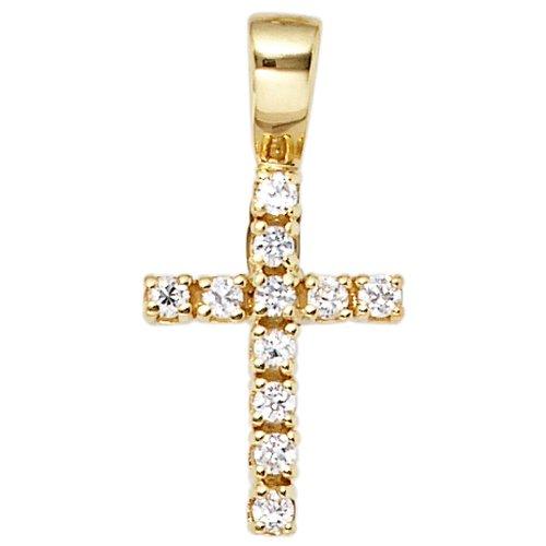 JOBO pendentif en forme de croix en or jaune 333 11-oxyde de zirconium