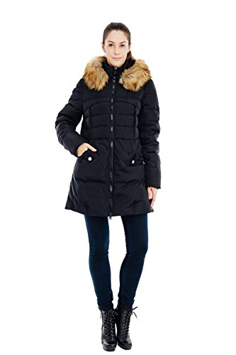 Fur Down 57 Parka Jacket with Hood VALUKER XL Black Women's 90D Coat Puffer ORqxBIw5