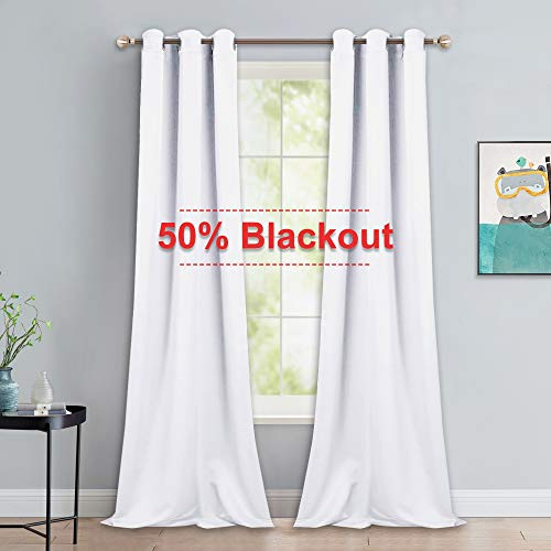 NICETOWN Long White Curtains for Patio - Home Decoration Grommet Top Drapes, White Bedroom Panels (42