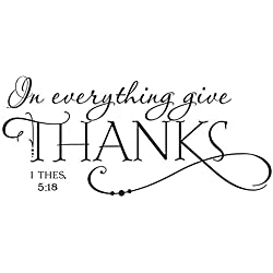 "Christian Quotes Lettering Words Black Design Wall Decals for Office Study Room, Proverbs ""In Everything Give Thanks"" Wall Décor Sticker Vinyl Decal 1 Thessalonians 5:18 for Thanksgiving Decor"