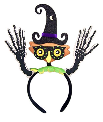 (Halloween Plush Owl Headband with Witch Hat and Skeleton Hands)