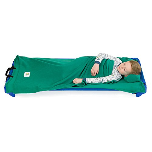- ROLLEE POLLEE Preschool and Daycare Roll Up Napping Blanket with Attached Pillow, Super Soft with Elastic Straps for Securing onto Standard Mats and Cots (Green)