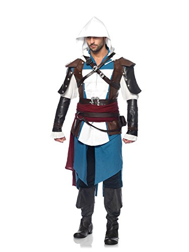 Leg Avenue Men's Assassin's Creed 9 Piece Edward Deluxe Deluxe Costume Cosplay, Blue/White, X-Large (Assassin Halloween Costumes)