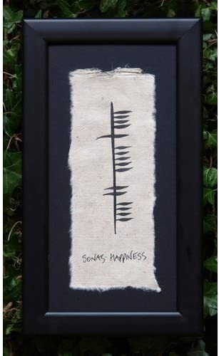 Biddy Murphy Sonas Happiness Ogham Writing Irish Wall Decor Hand Painted and Hand Crafted Paper Made