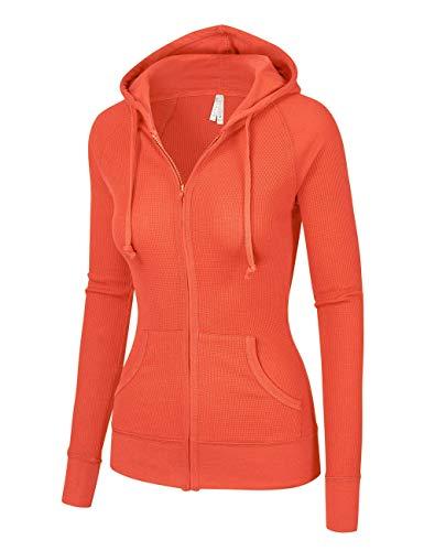 OLLIE ARNES Women's Thermal Long Hoodie Zip Up Jacket Sweater Tops Thermal_BORANGE S (Spandex Thermal Sweatshirt)
