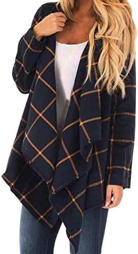 Plaid Cardigan Sweaters Women V Neck Long Sleeve Jacket