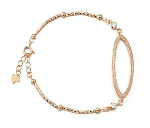 AmDxD Jewelry Silver Plated Link Bracelets for Women Oval Rose Gold - Oval Terry Bed