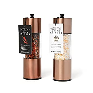 Garlic Salt and Pepper Blend Copper Spice Grinders: A Classy, Sleek Kitchen Accessory for the Home Chef who wants the Highest Quality and Best Ingredients