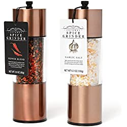 Extra Large Garlic Salt and Pepper Blend Copper Spice Grinders: A Classy, Sleek Kitchen Accessory for the Home Chef who wants the Highest Quality and Best Ingredients