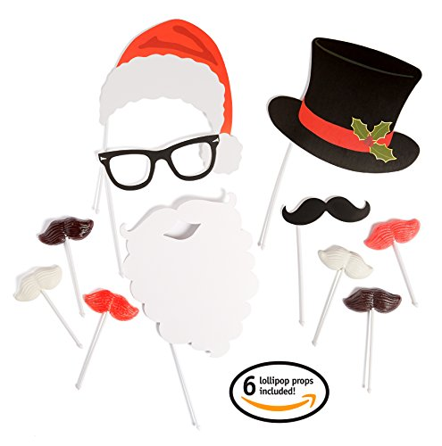 Holiday Selfie & Christmas Photo Booth Props Kit Including Edible Mustache Lollipops (6 Suckers Ea.) Santa Beard, Reindeer Antlers, Hipster Glasses, Santa Hat In a Gift Box. The Ultimate Picture Set