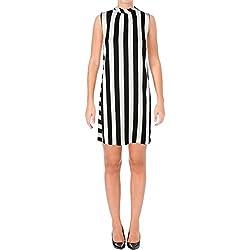 Marella Womens Striped Sleeveless Casual Dress Black 6