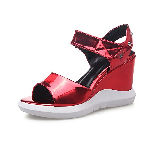 AllhqFashion Women's Patent Leather Hook-and-loop Open Toe High-Heels Solid Sandals Red FMOHA9uz