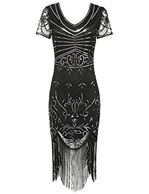 Women's Flapper Dress 1920s Sequins Art Deco Gatsby Cocktail Dresses with Sleeve